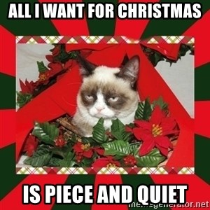 GRUMPY CAT ON CHRISTMAS - all i want for christmas is piece and quiet