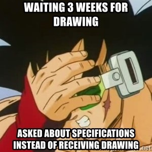 Facepalm Goku - Waiting 3 weeks for drawing asked about specifications instead of receiving drawing
