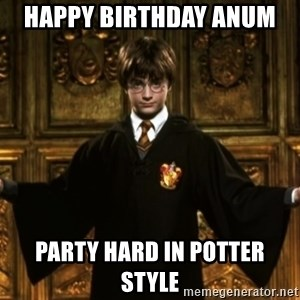 Harry Potter Come At Me Bro - Happy birthdaY anum  party hard in potter style
