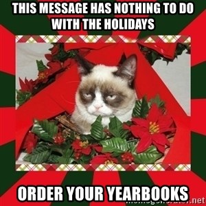GRUMPY CAT ON CHRISTMAS - This message has nothing to do with the holidays order your yearbooks