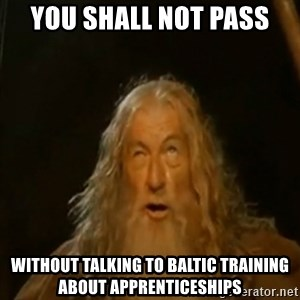 Gandalf You Shall Not Pass - you shall not pass without talking to baltic training about apprenticeships