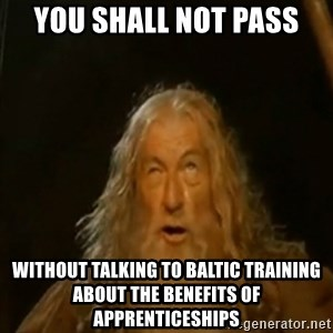 Gandalf You Shall Not Pass - you shall not pass without talking to baltic training about the benefits of apprenticeships