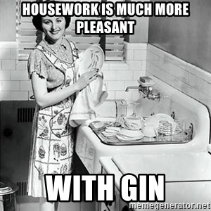50s Housewife - housework is much more pleasant with gin