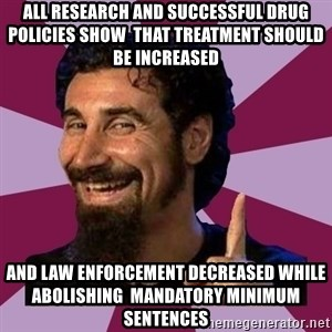 Serj Tankian - All research and successful drug policies show  that treatment should be increased And law enforcement decreased while abolishing  mandatory minimum sentences