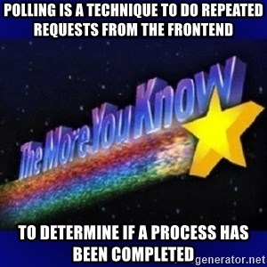 The more you know - Polling is a technique to do repeated requests from the frontend  to determine if a process has been completed