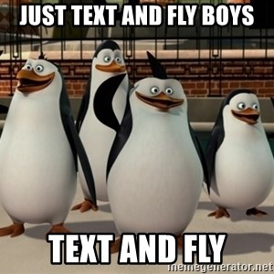 Madagascar Penguin - just text and fly boys text and fly