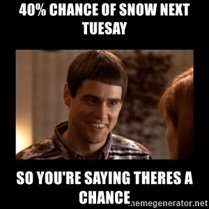 Lloyd-So you're saying there's a chance! - 40% chance of snow next TuesaY So you're saying theres a chAnce