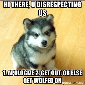 Baby Courage Wolf - hi there, u disrespecting us  1. apologize 2. get out. or else get WOLfEd on