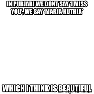 Blank Meme - In pubjabi we dont say 'i miss you', we say 'marja kuthia'  Which i think is beaUtiful
