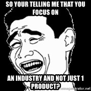 Laughing - so your telling me that you focus on an industry and not just 1 product?