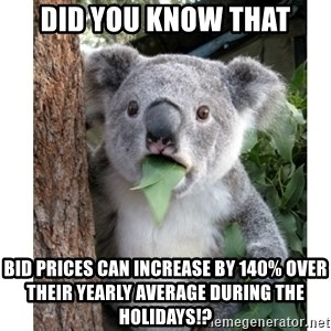surprised koala - Did you know that Bid prices can increase by 140% over their yearly average during the holidays!?