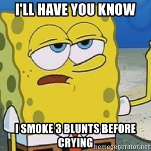 Only Cried for 20 minutes Spongebob - I'll have you know I smoke 3 blunts before crying