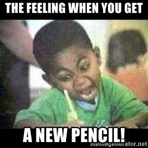 Black kid coloring - The feeling when you get a new pencil!