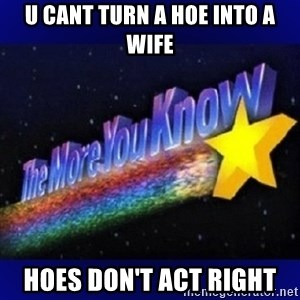 The more you know - u cant turn a hoe into A wife Hoes don't act right
