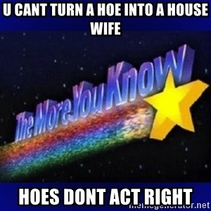The more you know - u cant turn a hoe into a house wife Hoes DONT ACT right