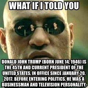What If I Told You - what if i told you  Donald John Trump (born June 14, 1946) is the 45th and current President of the United States, in office since January 20, 2017. Before entering politics, he was a businessman and television personality.