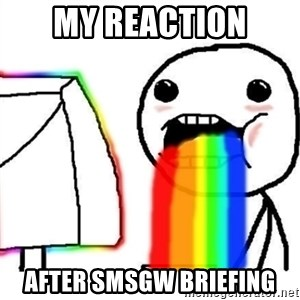 Puking Rainbows - My reaction after SMSGW Briefing