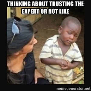 African little boy - thinking about trusting the expert or not like