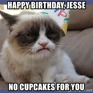 Birthday Grumpy Cat - Happy birthday, jesse no cupcakes for you