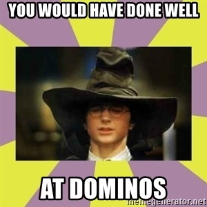 Harry Potter Sorting Hat - You would have done well at Dominos