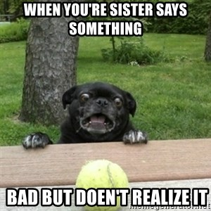 Ermahgerd Pug - when you're sister says something  bad but doen't realize it