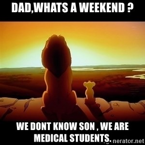 Simba - Dad,whats a weekend ? We dont know son , we are medical students.