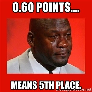crying michael jordan - 0.60 Points.... Means 5th Place.