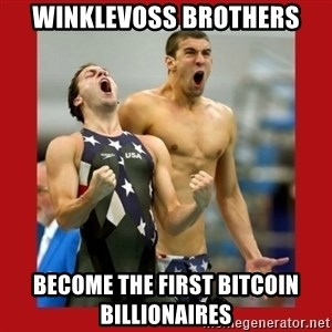 Ecstatic Michael Phelps - Winklevoss brothers become the first Bitcoin billionaires