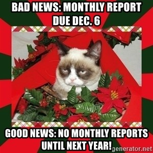 GRUMPY CAT ON CHRISTMAS - BAD News: monthly report due Dec. 6 Good news: no monthly reports until next year!