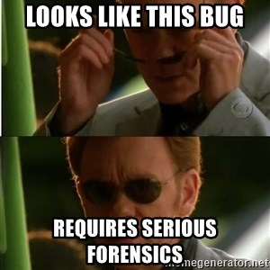 Csi - looks like this bug Requires serious forensics