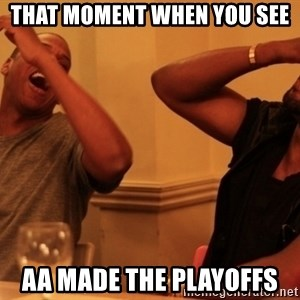 Jay-Z & Kanye Laughing - That moment when you see AA made the playoffs