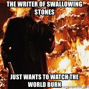 It's about sending a message - the writer of swallowing stones just wants to watch the world burn