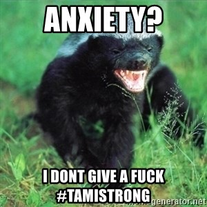 Honey Badger Actual - Anxiety? i dont give a fuck #tamistrong