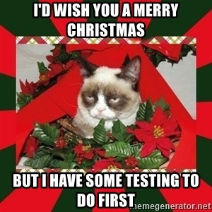 GRUMPY CAT ON CHRISTMAS - i'd wish you a merry christmas but i have some testing to do first