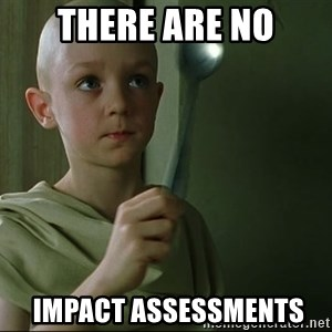 There is no spoon - THERE ARE NO  impact assessments