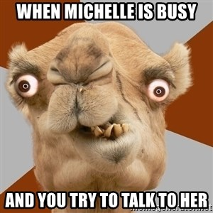 Crazy Camel lol - when michelle is busy and you try to talk to her