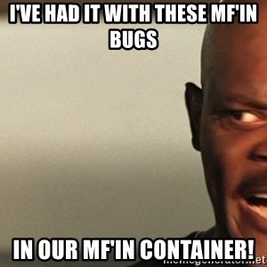 Snakes on a plane Samuel L Jackson - I've had it with these MF'in Bugs in our mF'IN container!