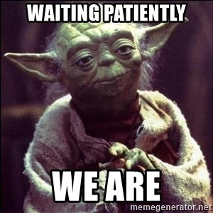 Advice Yoda - waiting patiently we are