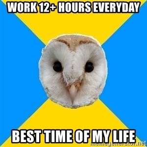 Bipolar Owl - work 12+ hours everyday best time of my life