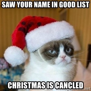 Grumpy Cat Santa Hat - Saw your name in good list Christmas is cancled