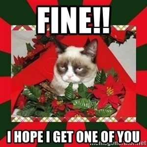 GRUMPY CAT ON CHRISTMAS - FINE!! I hope I get one of you