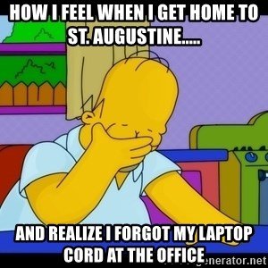 Homer Facepalm - how I feel when I get home to St. Augustine..... And realize I forgot my laptop cord at the office