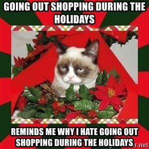 GRUMPY CAT ON CHRISTMAS - Going out shopping during the holidays Reminds me why i hate going out shopping during the holidays