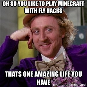 Willy Wonka - oh so you like to play minecraft with fly hacks thats one amazing life you have
