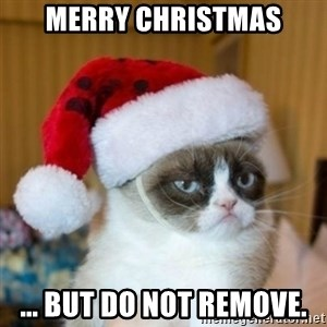 Grumpy Cat Santa Hat - merry christmas ... but do not remove.