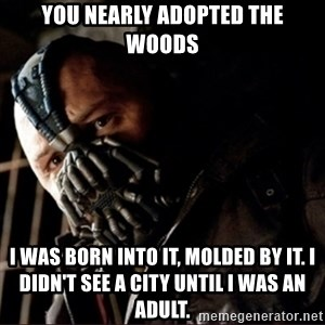Bane Permission to Die - You nearly adopted the woods I was born into it, molded by it. I didn't see a city until I was an adult.