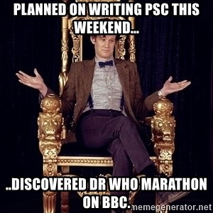 Hipster Doctor Who - Planned on writing PSC this weekend... ..discovered Dr Who marathon on BBC.