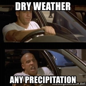 Vin Diesel Car - Dry weather  Any precipitation