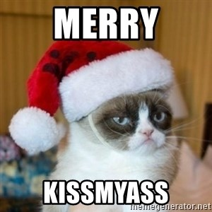 Grumpy Cat Santa Hat - Merry kissmyass