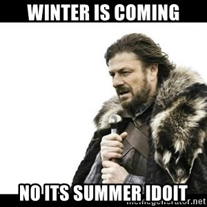 Winter is Coming - winter is coming no its summer idoit